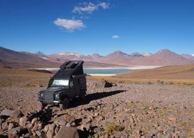 Am Fuss des Volcan Licancabur - ein schöner aber wieder einmal etwas hocher Übernachtungsplatz auf rund 4'600m.ü.M.