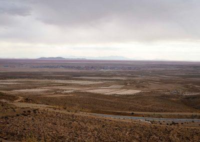 Die Sicht auf Uyuni und die Salar.