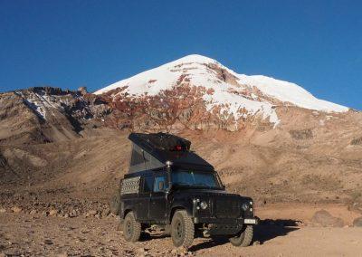 Unser höchster Schlafplatz, auf 4'841 m.ü.M. beim Vulkan Chimborazo