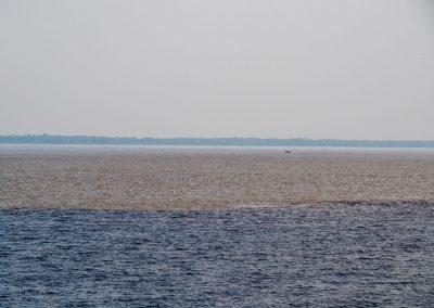 Der berühmte Zusammenfluss von Rio Negro und  Rio Solimões zum Rio Amazonas – man sieht die Linie schon von weitem.