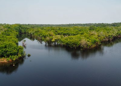 Die Landschaft ist von viel Wasser durchzogen.