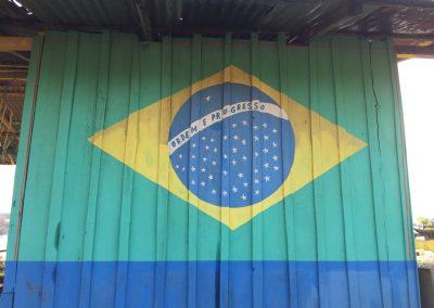 Die Brasilianer sind schon sehr stolz auf ihr Land und die Flagge.