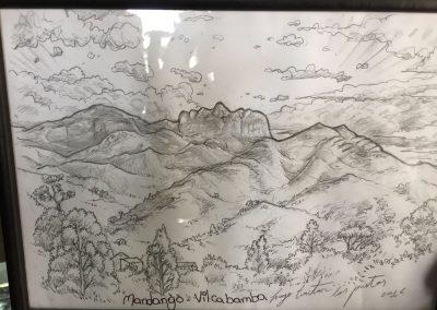 …die Berge zeigen einen Mann und eine Frau liegend im Paradies.